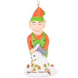 Elf Hair Drying a Snowman Funny Christmas Ornament
