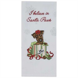 I Believe In Santa Paws Embroidered Dishtowel