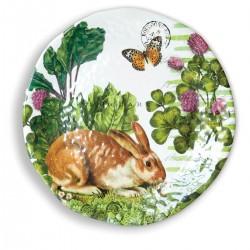 Garden Bunny Large Round Melamine Platter