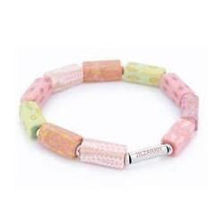 Pink Salt Square Beaded Bracelet (Silver)