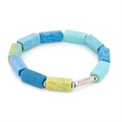 Seaside Blue Square Beaded Bracelet (Silver)