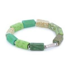 Botanical Green Square Beaded Bracelet (Silver)