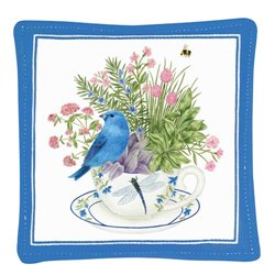 Mug Mat Blue Bunting Set 4