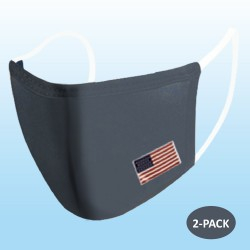 Dark Gray Protective Reusable Face Mask 2 Layers Cloth Mask with Flag (Pack of 2)