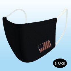 Black Protective Reusable Face Mask 2 Layers Cloth Mask with Flag (Pack of 2)