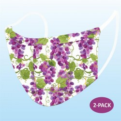 Grapes Print Protective Reusable Face Mask 2 Layers Cloth Mask (Pack of 2)