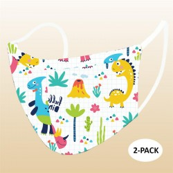 Kids Dino Protective Reusable Face Mask 2 Layers Cloth Mask (Pack of 2)