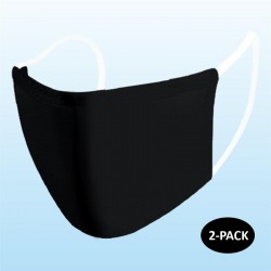 Black Protective Reusable Face Mask Blank 2 Layers Cloth Mask (Pack of 2)