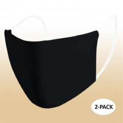 Kids Black Blank Protective Reusable Face Mask 2 Layers Cloth Mask (Pack of 2)