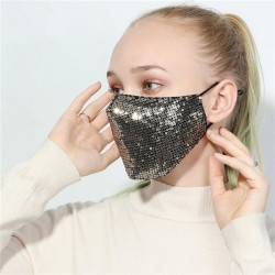 Gold & Black Sequin Face Mask