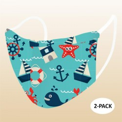 Kids Nautical Icons Face Mask (Pack Of 2)