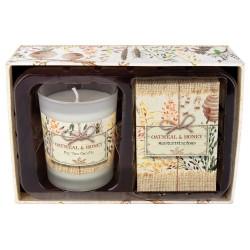 Oatmeal & Honey Candle Soap Set