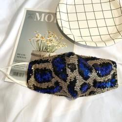 Blue/Gold Leopard Sequin Face Mask