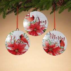 Poinsettia & Cardinal Ornament Joy