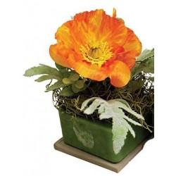 "Orange Poppy Dahlia 8"" Square Fragranced GEO"