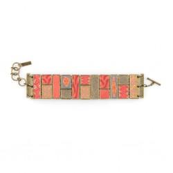 Coral Crush Square Cobblestone Bracelet