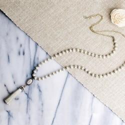 Linen Tassel Beaded Necklace