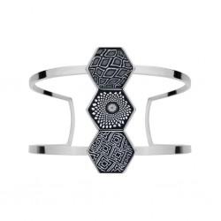 Black White Rhodium Hexagon Cuff Bracelet