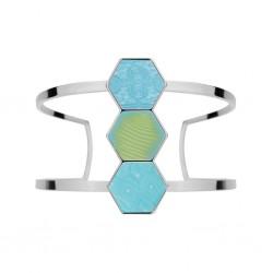 Seaside Blue Rhodium Hexagon Cuff Bracelet