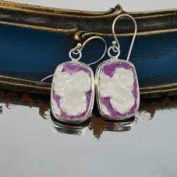 Earrings Purple White