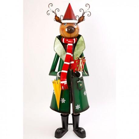 Metal Reindeer Holding Gift & Umbrella