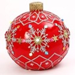 Musical Outdoor Jumbo Ornament Red