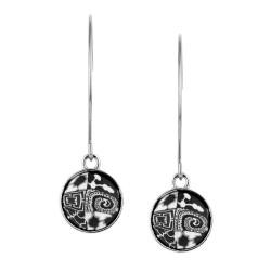 Black White Hoop Charm Earrings
