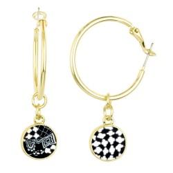 Black White Gold Hoop Earrings