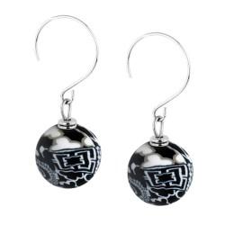 Black White Medium Earrings