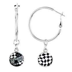 Black White Silver Hoop Earrings