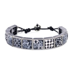 Black White Square Wrap Bracelet