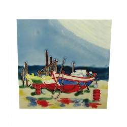 Boat On Beach Tile