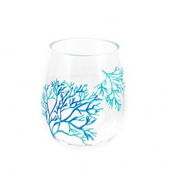 Coral Pattern Stemless Wine Glass